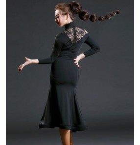Black blue printed fashion sexy competition performance women's ladies professional latin salsa cha cha dance dresses