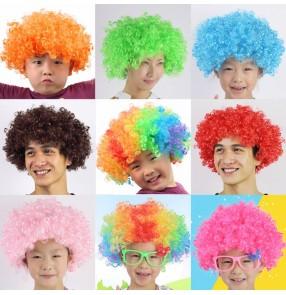 Black brown gold white colorful rainbow colored children adult  performance dancing comedy cosplay short length curly wig faux fair