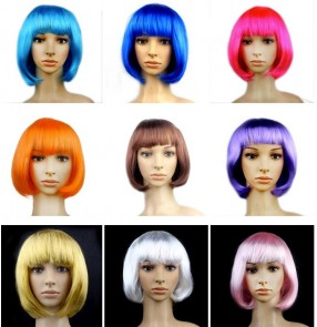 Black brown red colored short length women's girls ball cosplay party dancing straight faux hair wig head accessory