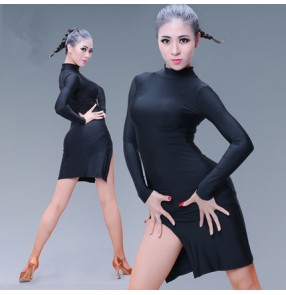 Black coffee turtle neck long sleeves side split women's ladies female competition stage performance latin salsa dance dresses outfits