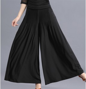 Black draped front wide leg loose fashion style competition exercises latin ballroom dance long pants trousers