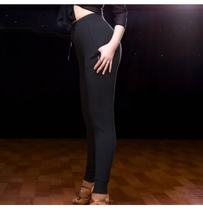 Black elastics women's girls performance gymnastics exercises performance latin salsa samba leggings long pants