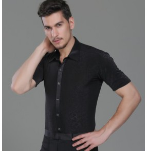 Black embossing pattern down collar short sleeves fashion men's latin ballroom tango dance shirts tops