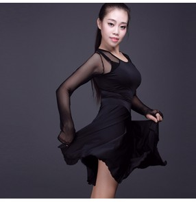 Black fashion see through mesh long sleeves microfiber women's ladies female competition performance latin dance cha cha dance dresses