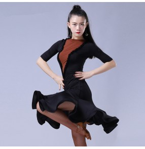 Black flesh fabric patchwork half sleeves competition performance women's latin salsa dance dresses outfits dancewear