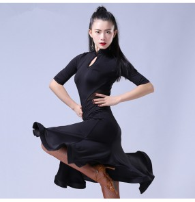 Black floral printed half sleeves competition performance professional women's latin salsa ballroom dance dresses outfits