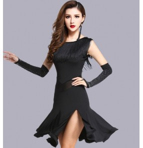 Black fringes side split sexy fashion girls women's competition performance latin salsa dance dresses outfits
