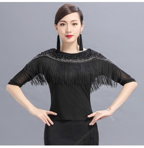 Black fringes tassels lace patchwork women's ladies competition performance ballroom latin dance tops blouses