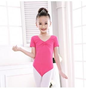 Black fuchsia hot pink blue light pink short sleeves girls baby children gymnastics competition exercises ballet tutu dance leotards