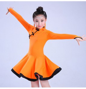 Black fuchsia hot pink orange long sleeves girls kids children competition performance latin salsa cha cha dance dresses