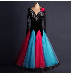 Black fuchsia hot pink turquoise long length diamond rhinestones women's ladies competition performance professional long length  standard ballroom waltz tango dancing dresses