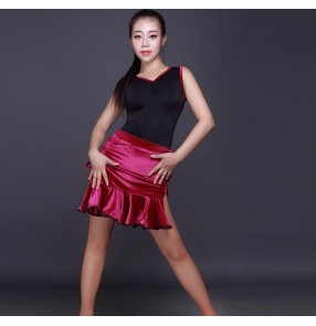 Black fuchsia hot pink velvet patchwork sleeveless back crossed belt back leotards tops side split skirts competition gymnastics performance latin cha cha dance dresses outfits