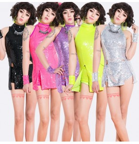 Black fuchsia hot pink violet purple violet hot pink neon green sequins paillette modern dance girls women's jazz singer dj night club hip hop dance costumes