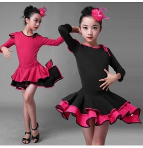 Black fuchsia patchwork long sleeves girls kids children growth school play stage performance latin salsa cha cha dance dresses outfits