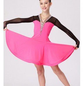 Black fuchsia patchwork long sleeves v neck rhinestone neckline competition performance girls children kids latin salsa cha cha dance dresses costumes