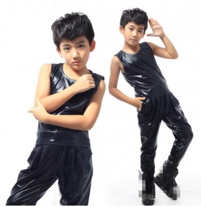 Black glitter patent leather sleeveless fashion boys kids children stage performance hip hop jazz singer drummer competition vest and pants