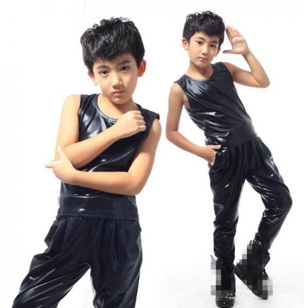 6df8609c7343b6 Black glitter patent leather sleeveless fashion boys kids children stage  performance hip hop jazz singer drummer competition vest and pants