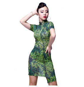 Black green leaves printed with sashes sexy fashion competition women's ladies professional latin salsa dance dresses outfits