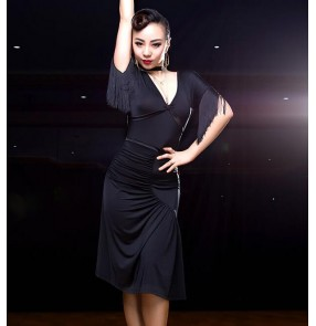 Black green printed fashion sexy fringes sleeves women's competition ballroom salsa latin dance dresses