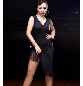 Black green printed fringes asymmetrical skirt hem competition women's adult latin ballroom dance dresses