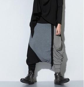 Black grey striped patchwork fashion casual loose women's men's hip hop dance performance baggy drop crotch sweatpants trousers