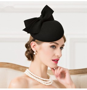 Black handmade 100% wool England socialite event wedding evening cocktail party banquet bowknot hair clip  top hats fedoras