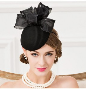 Black handmade wool bowknot vintage fashion women's evening wedding party cocktail banquet pillbox top hats fedoras headwear