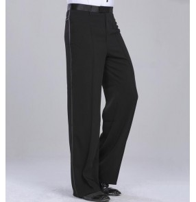 Black high quality side hip with ribbon competition performance men's male latin ballroom tango waltz dance pants trousers