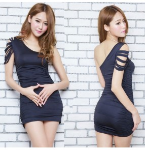 Black hollow one shoulder asymmetrical neck sexy fashion women's jazz singer dj hip hop hot dance mini tight above knee dresses