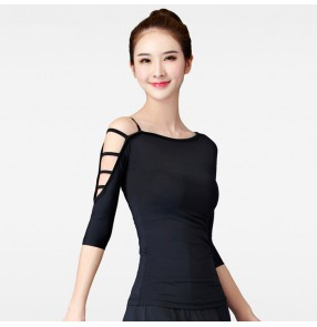 Black hollow sleeves women's ladies competition gymnastics practice exercises latin salsa dance tops blouses