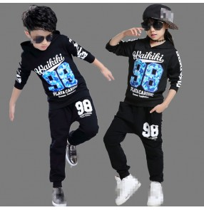 Black hoodies long sleeves tops and long pants boys kids children girls student school play fashion hip hop jazz singer dance costumes outfits