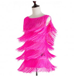 Black hot pink fuchsia layers fringes sexy backless competition women's girls latin salsa cha cha dance dresses