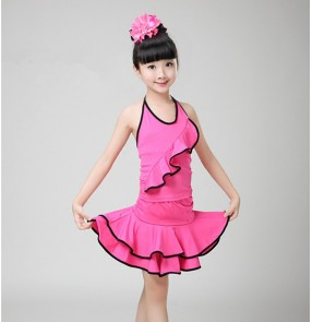 Black hot pink fuchsia red backless spandex girls kids children performance competition school play gymnastics latin salsa cha cha dance dresses outfits