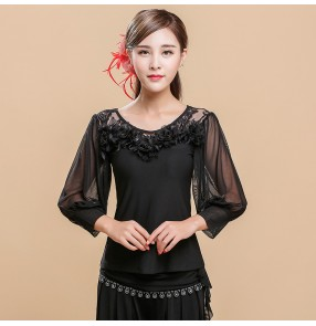 Black lace back patchwork long bishop sleeves competition women's female performance latin ballroom dance tops shirts