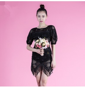 Black lace fringes tassels see through fashion women's girls short sleeves latin salsa cha cha competition dance dresses