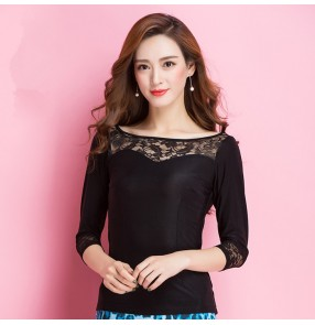 Black lace long sleeves patchwork sexy fashion women's  ladies ballroom latin salsa cha cha rumba dance tops clothing
