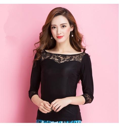 d55e9777f7f987 Black lace long sleeves patchwork sexy fashion women's ladies ballroom latin  salsa cha cha rumba dance tops clothing