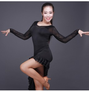 Black lace long sleeves patchwork sexy see through back fashion women's ladies girls performance irregular ruffles hem latin salsa cha dance dresses outfits