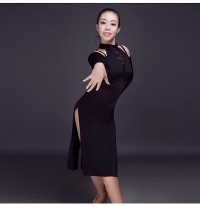 Black lace patchwork long sleeves exposure shoulder competition performance salsa cha cha dance dresses outfits costumes