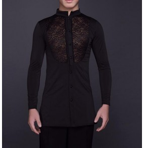 Black lace patchwork long sleeves stand collar men's man male competition performance exercises latin ballroom tango dance shirts tops
