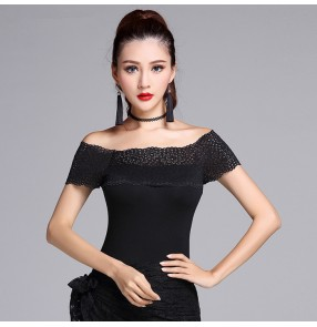 Black lace patchwork off shoulder slash neck sexy fashion competition performance women's girls ballroom latin cha cha dance tops blouses