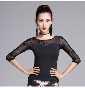 Black lace patchwork sexy see through fashion competition stage performance girls women's salsa cha cha latin dance tops blouses