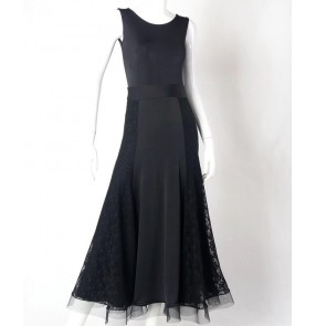 Black lace patchwork sleeveless women's ladies competition performance ballroom tango waltz dance tank dresses outfits