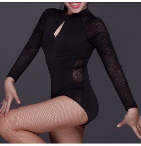 Black lace  see through long sleeves fashion girls women's competition performance exercises latin ballroom cha cha salsa dance tops leotards bodysuits