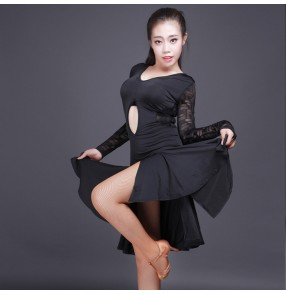 Black lace spandex patchwork sexy see through back split hem long sleeves hollow front fashion women's ladies female competition performance latin cha cha dance dresses outfits