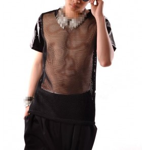 Black leather mesh see through patchwork short sleeves fashion men's male night club stage performance jazz hip hop singer pole dancing tops t shirts