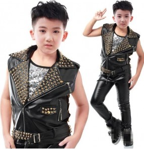 Black leather with gold rivet lens fashion boys kids children school competition performance jazz drummer ds hip hop singers dancers vests waistcoats