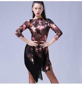Black leopard floral half sleeves fringes women's ladies female competition performance latin salsa dance dresses outfits