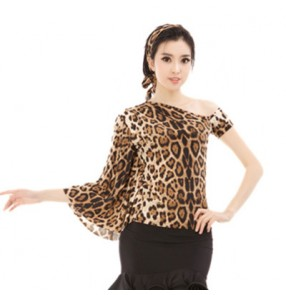 BLack leopard printed sexy fashion one batwing sleeves competition performance girls women's latin salsa dance tops
