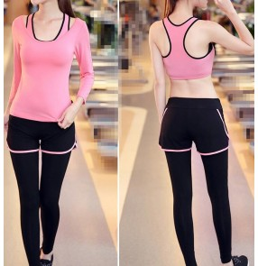 Black light pink orange fuchsia green 3in1 women's girls breathable running jogging gymnastics yoga fitness clothing clothes costumes